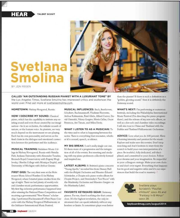 Pianist Svetlana Smolina, a faculty member at Kaufman Music Center's Lucy Moses School, is featured in the August 2014 Keyboard Magazine.