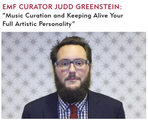 Judd Greenstein, curator of Kaufman Music Center's Ecstatic Music Festival