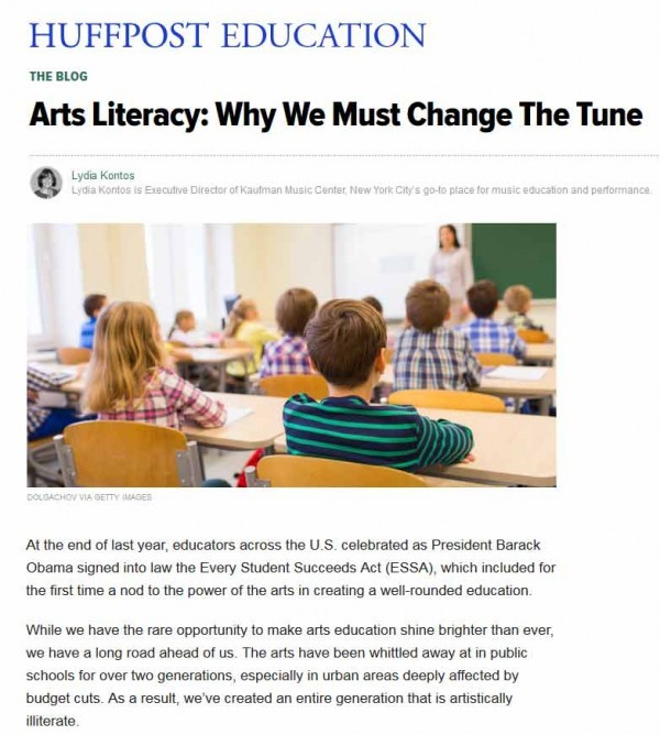 Lydia Kontos in the Huffington Post: We've Created an Artistically Illiterate Generation