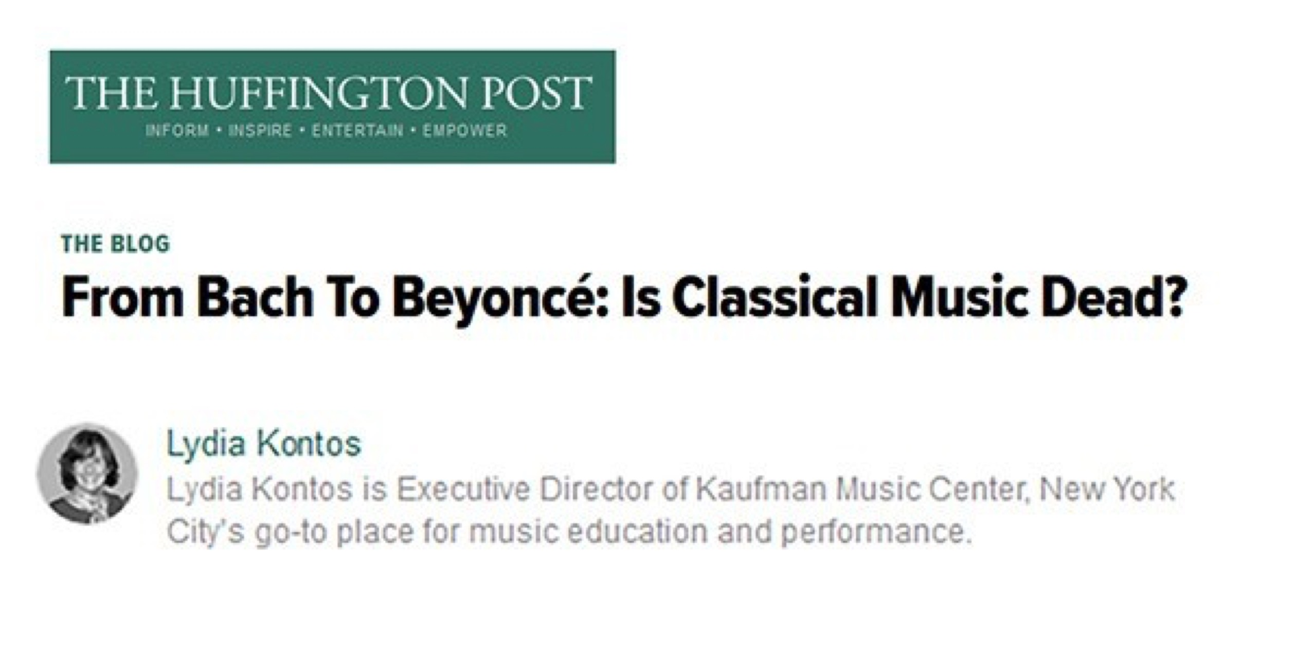 Kaufman's Lydia Kontos Discusses the Future of Classical Music.