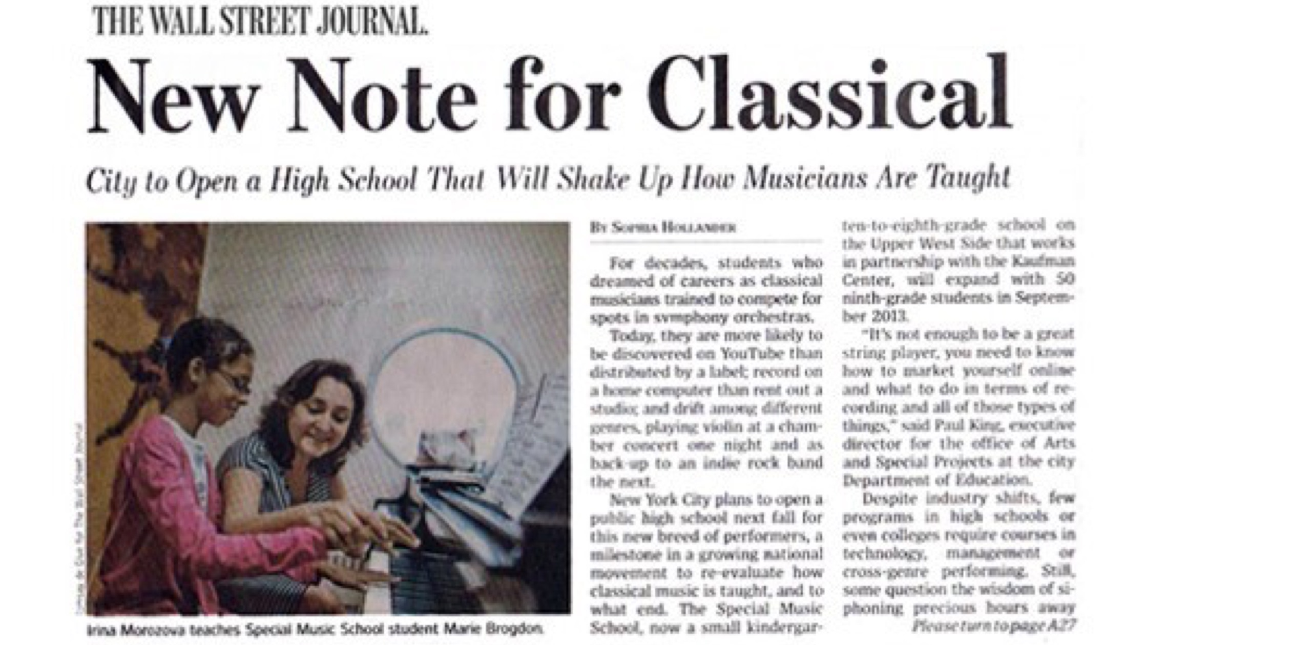 "Wall Street Journal Calls New SMS High School a ""Milestone"""