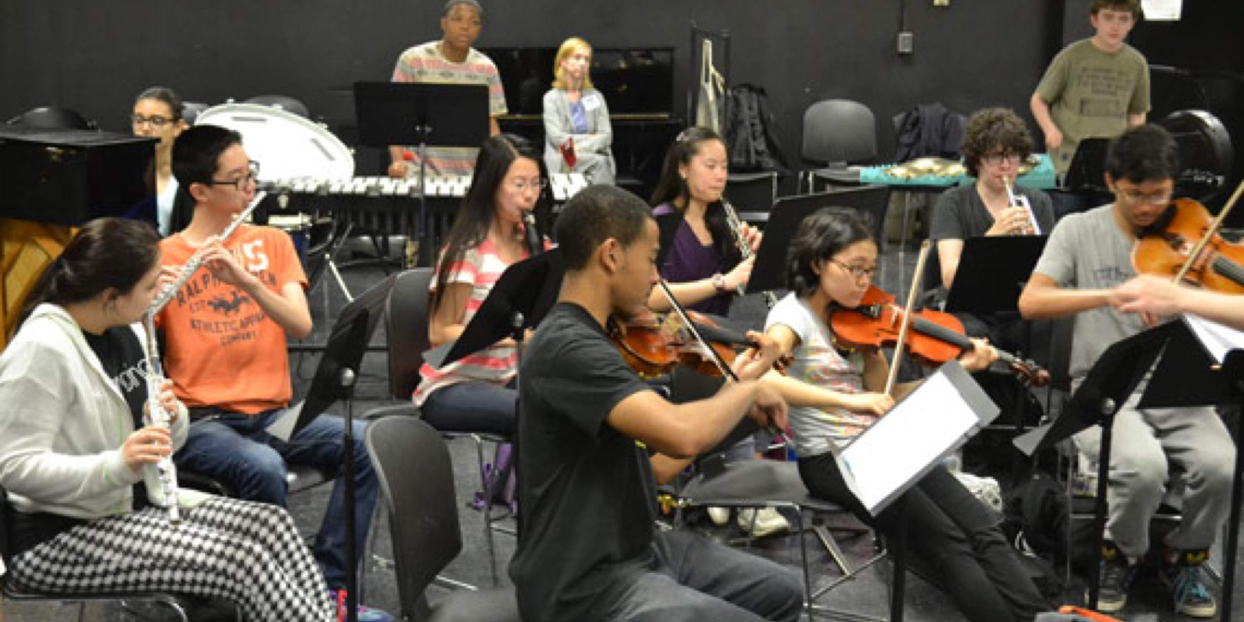 SMS composers rehearsing for the NY PHIL BIENNIAL